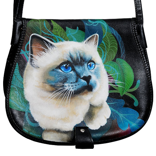 Garden Cat vintage painted bag