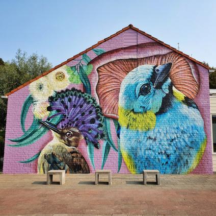 Muurschildering voor basisschool de Poeljeud in Zeeland