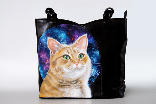Galaxy cat vintage leather bag