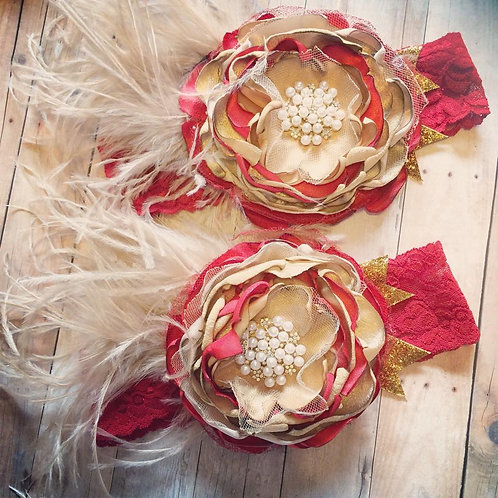 Couture red and gold headband