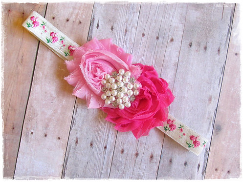 Pink Foral headband
