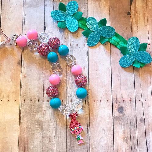 Poppy Troll Chunky Necklace and headband set