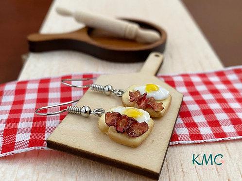 Breakfast Toast Earrings | Miniature Jewelry | Food Earrings