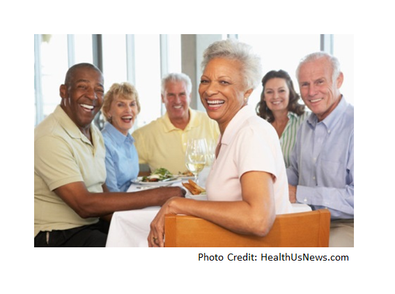 Caregivers in a group senior citizens