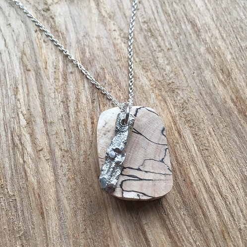 Spalted beech and silver nugget pendant