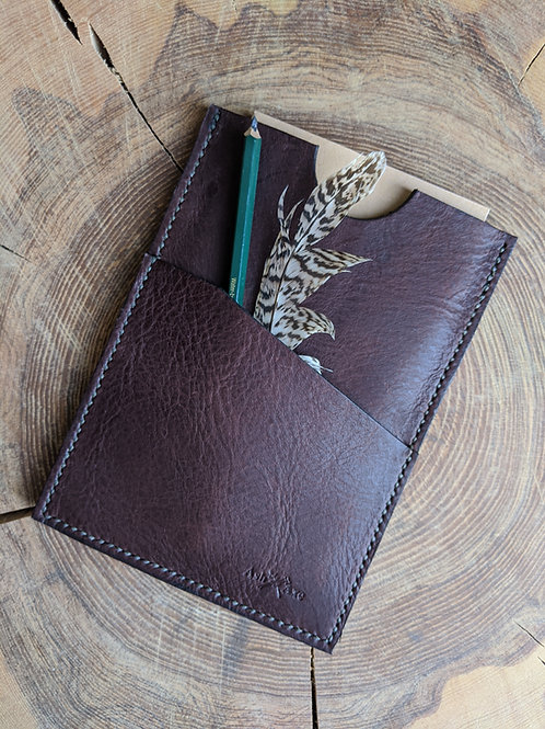 Hand stitched leather journal holder