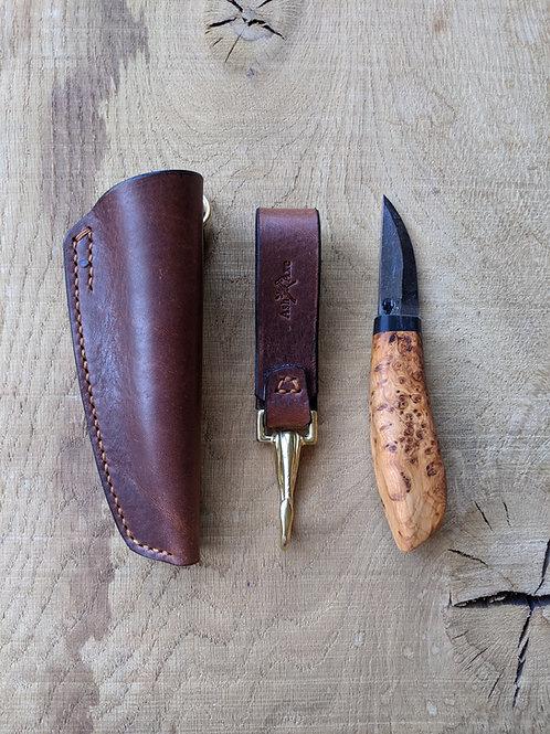 English Yew burr knife set