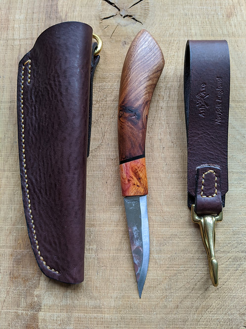 Stunning English figured Elm knife set