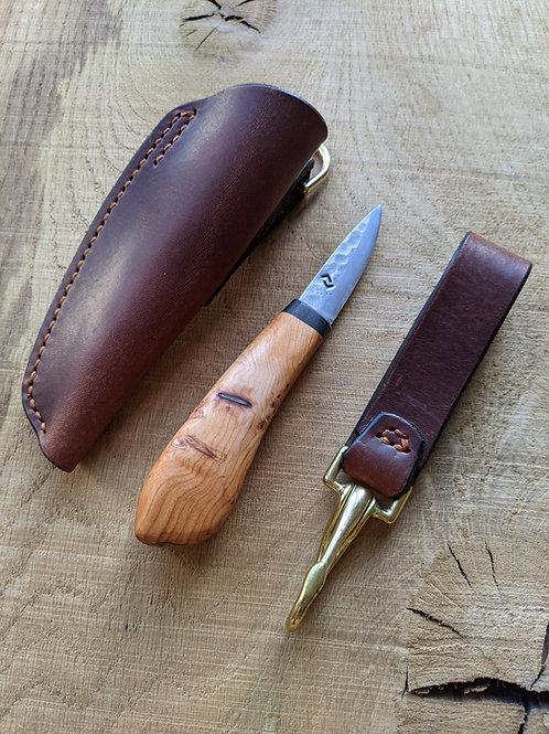 English burr yew knife set with mammoth tusk