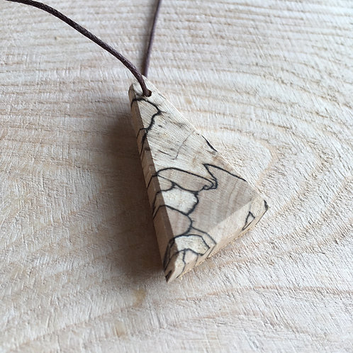 Spalted Beech Handcrafted Angle Pendant