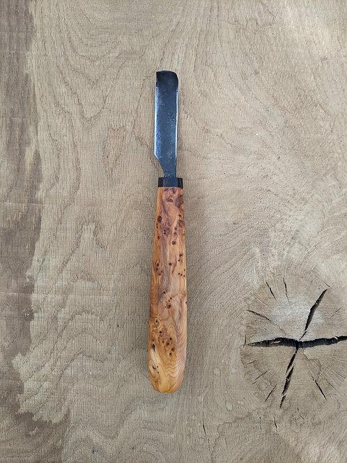 Yew burr spoon knife