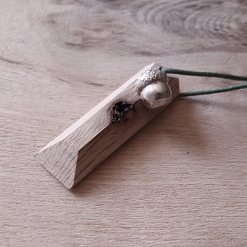 English oak and silver charm pendant cast from an acorn