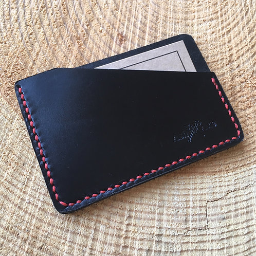 Handcrafted black English bridle leather card holder