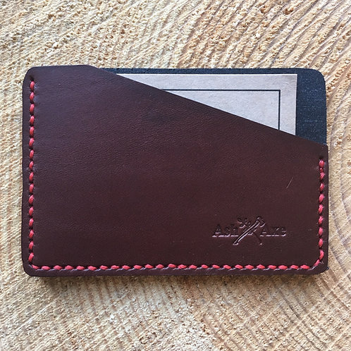 Handcrafted full grain brown and black leather card holder