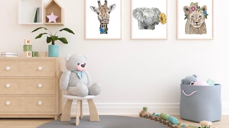 A4 Safari animal prints framed