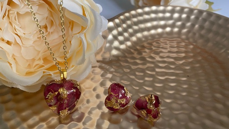 Rose Heart necklace and earring set
