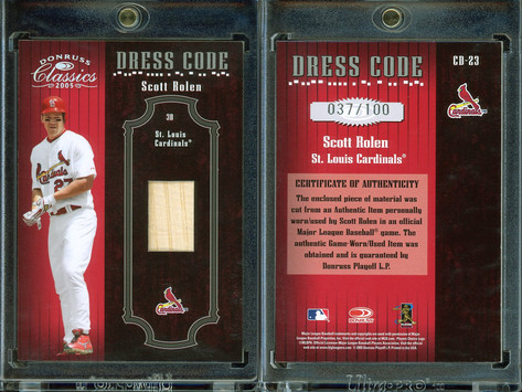 2005 Donruss Classics - Dress Code Bat #CD-23 MEM, SN100