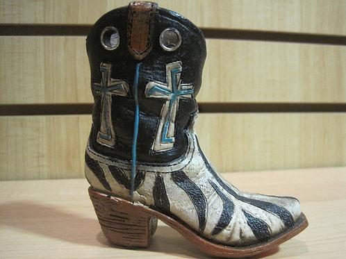 Zebra Designed Texas Boot with Cross