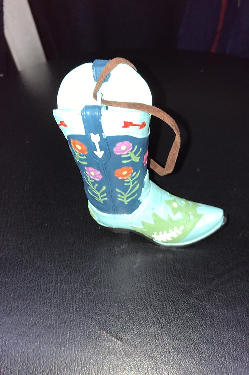 Cowboy boot with flower  ornament