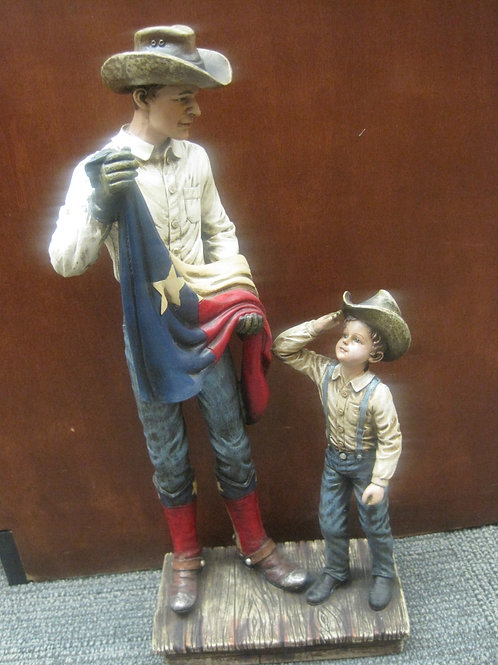 Father sharing Texas Flag with his Young son - Statue