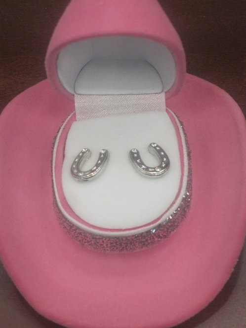 Texas Pink Hat Shaped Box with Horse Shoe Earings