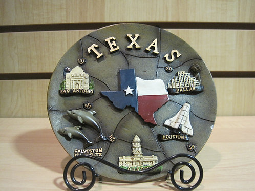 Texas Plate with Texas Destinations