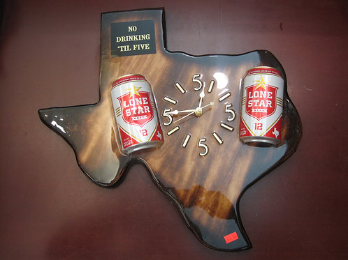 Texas Shaped Clock with Lone Star Beer Cans