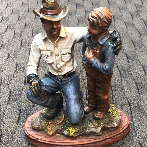 Father and Son cowboy statue