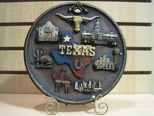 Large TX Top Destinations Plate with Holder
