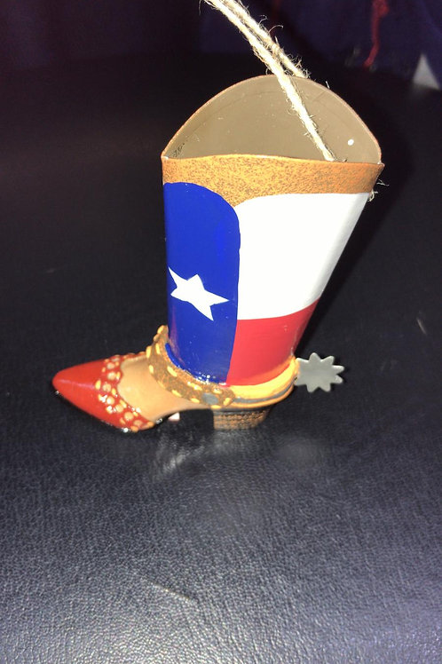Cowboy boot with red/blue and white ornament
