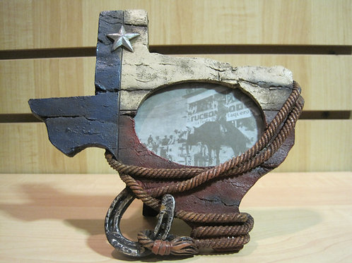 Texas shaped Photo Frame wrapped in rope