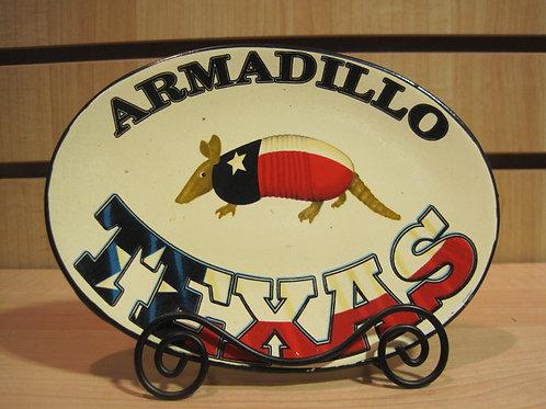 Texas Armadillo Oval Shaped Plate