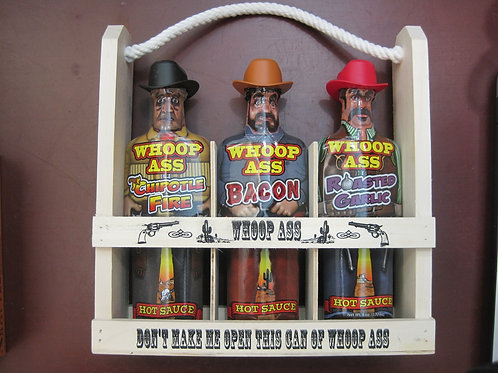 Texas hot sauce 3 pack in wooden basket