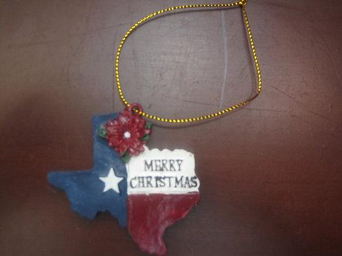Merry Christmas Texas Shaped Ornament
