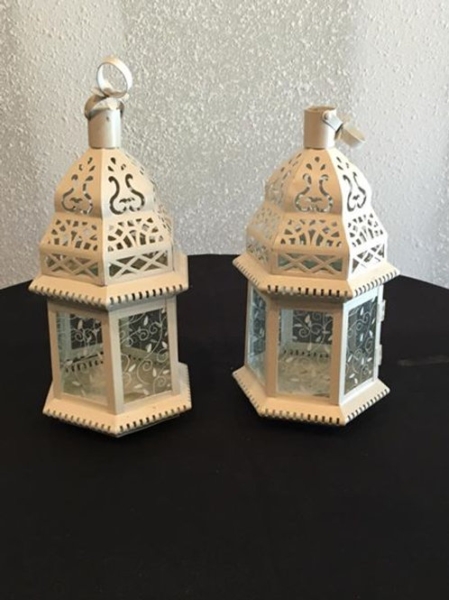 White Small Lantern including candles