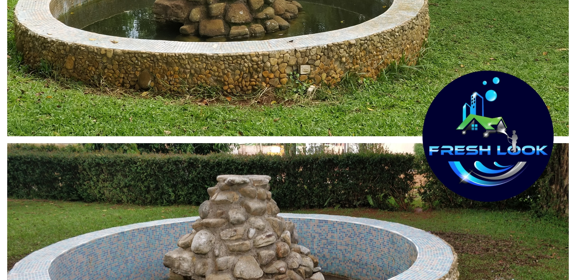 Stone fountain cleaning