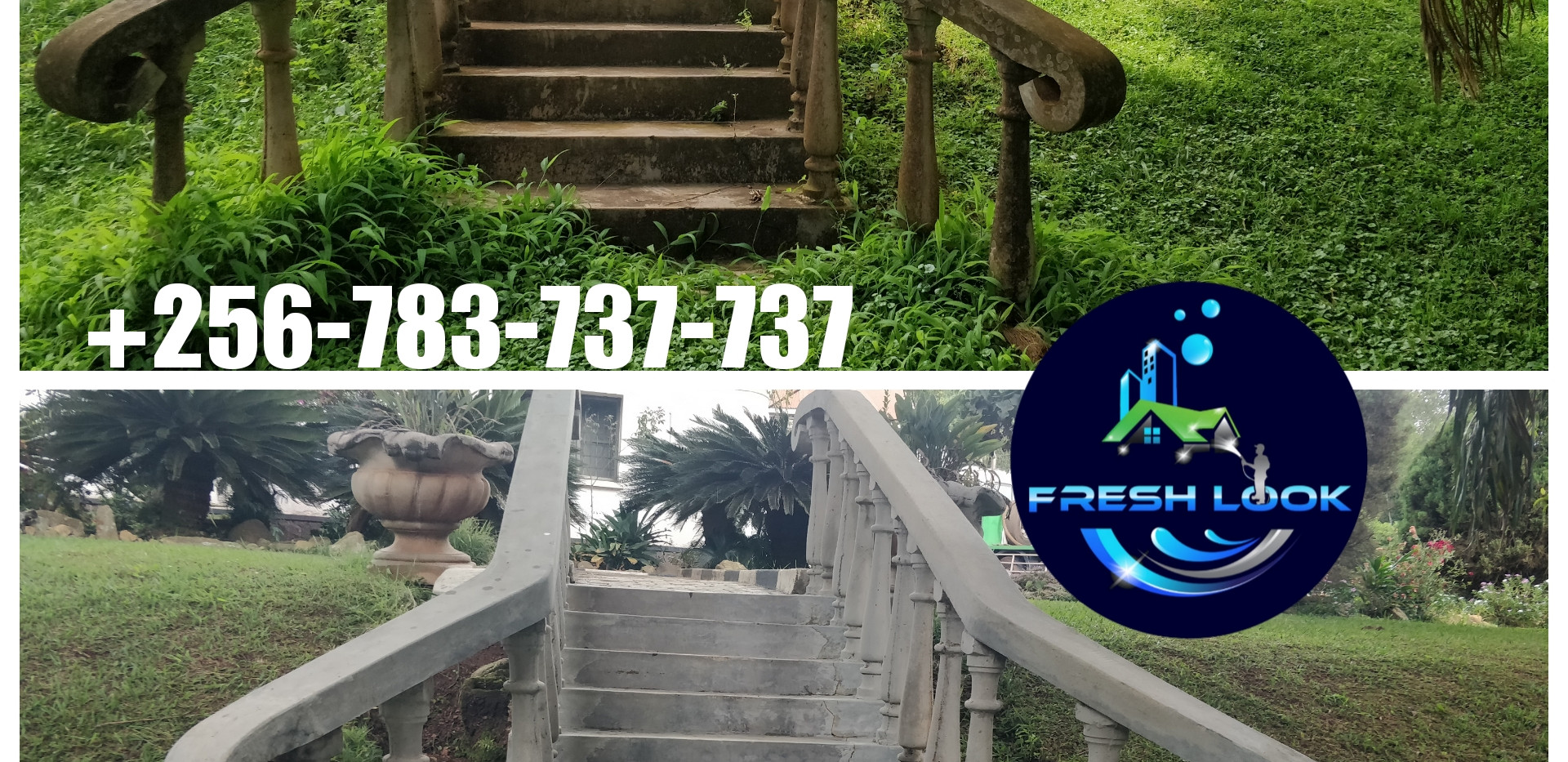 Concrete stair cleaning