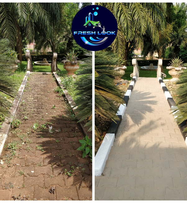 Paver cleaning, sanding & curb stone painting - residential