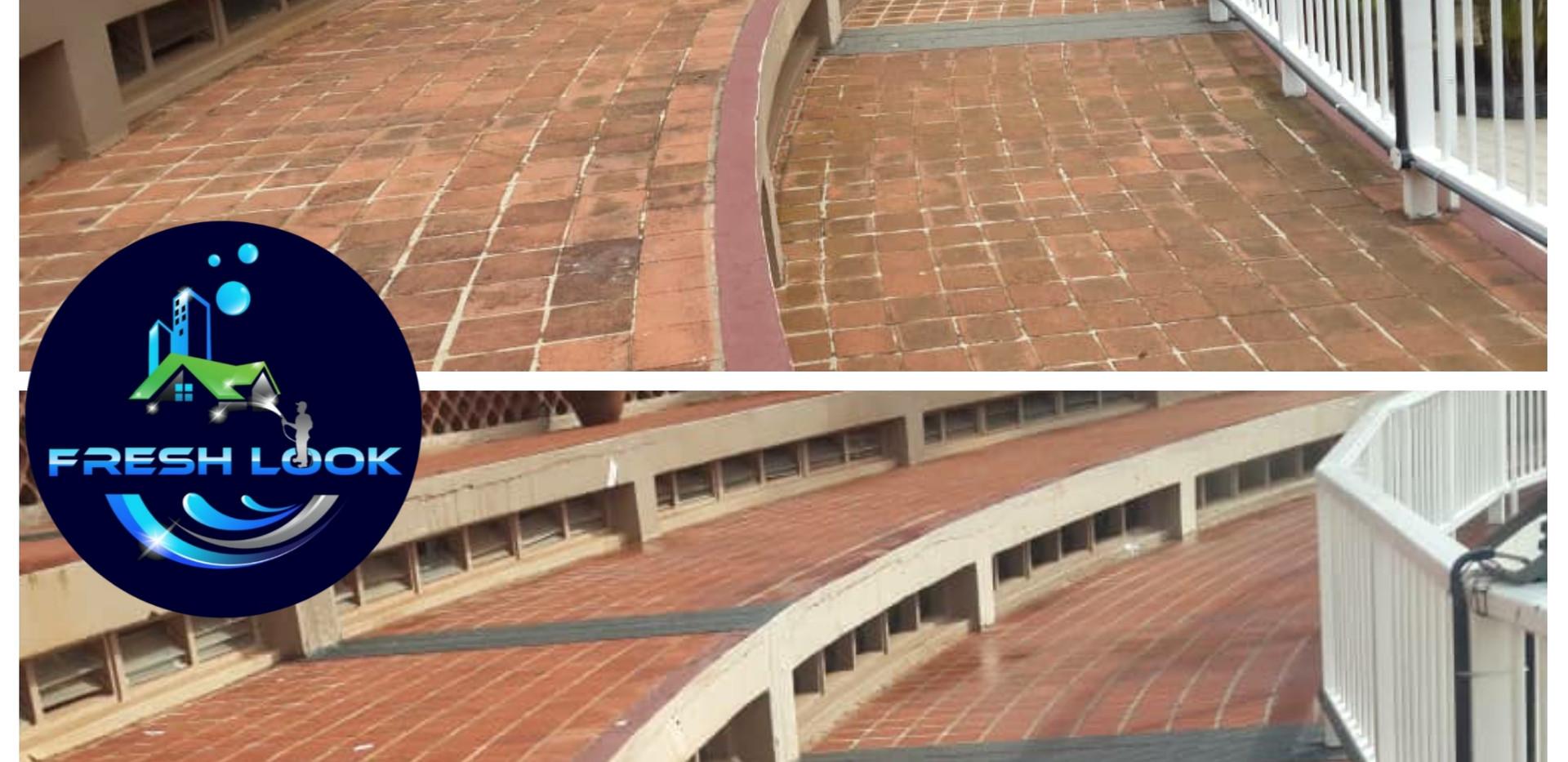 Terracotta tile cleaning - Sheraton Hotel