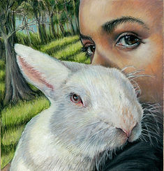 Artwork of Girl with rabbit in colored pencil