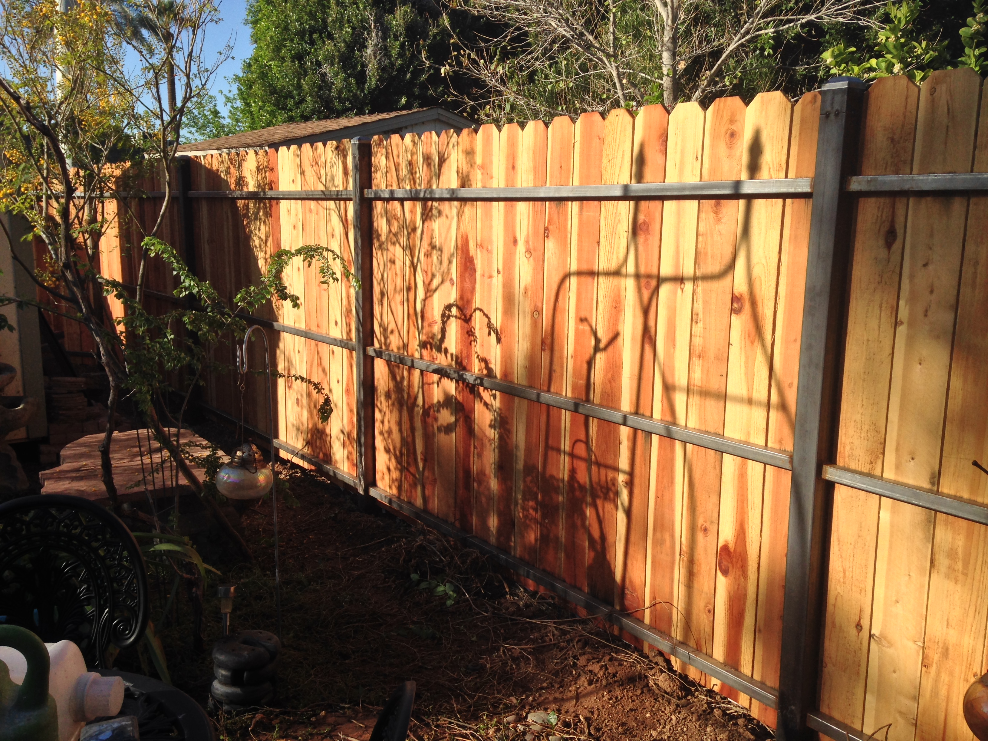 steel & wood fence