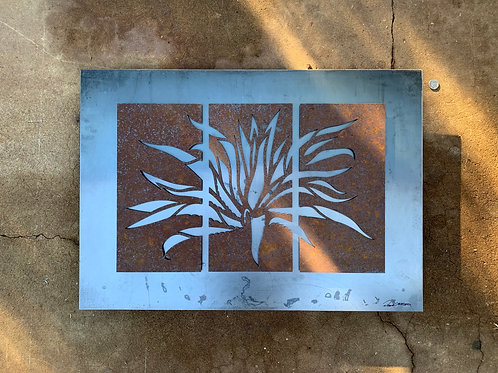 Large Agave Triptych with hot rolled steel backer