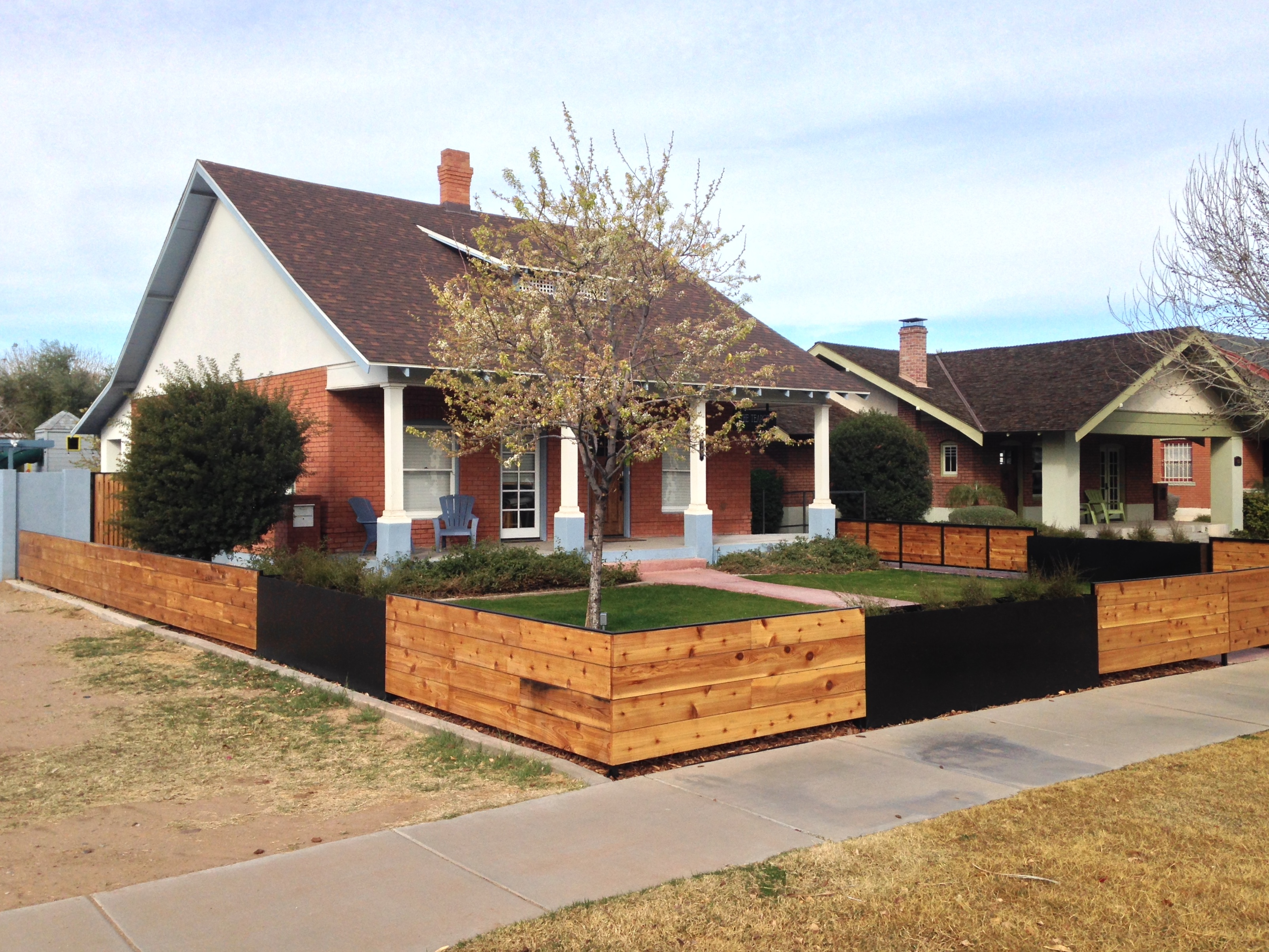fence, gates and planters