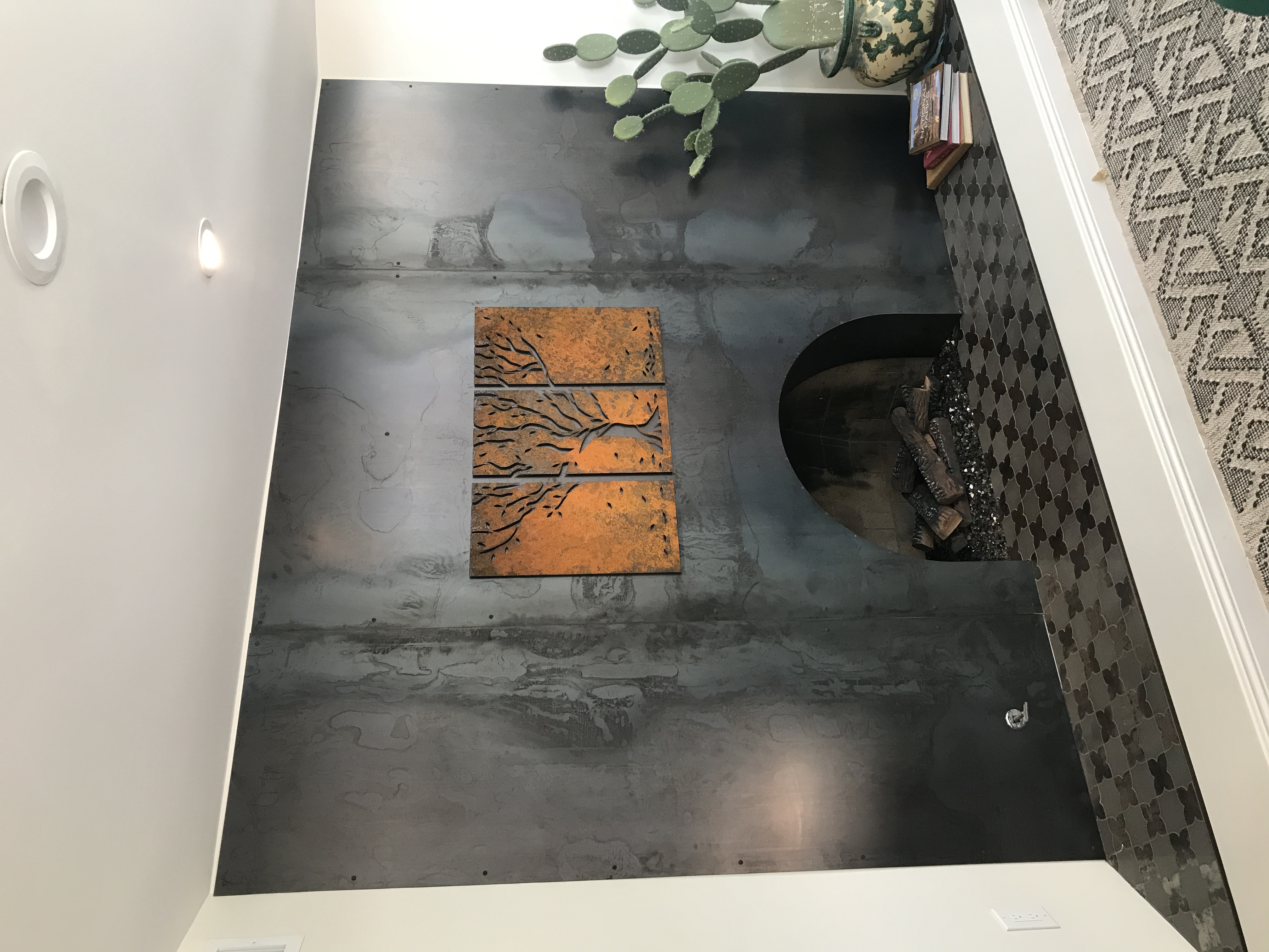 fireplace veneer with Treeptych