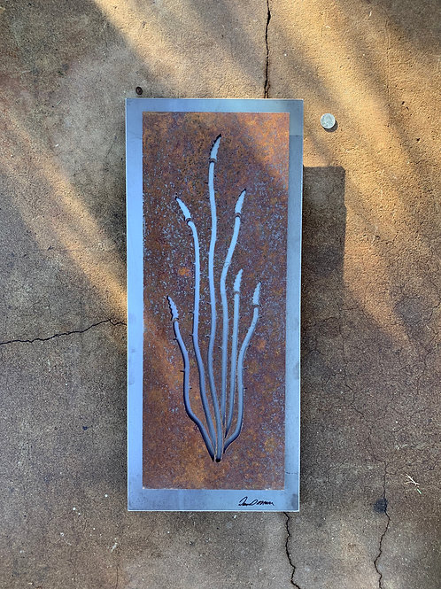 Small Ocotillo with hot rolled steel backer panel
