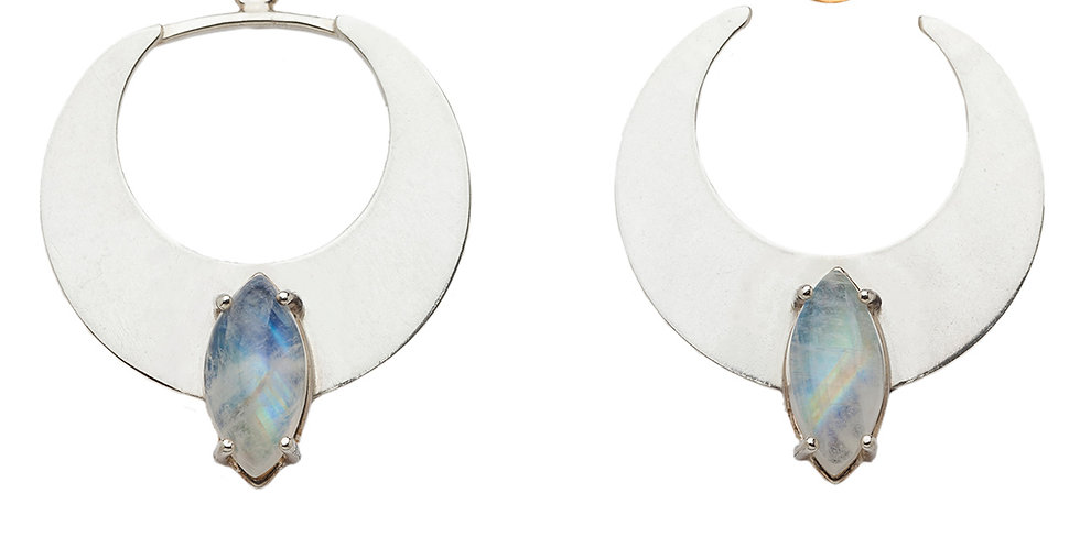 Gibbous earring jackets with moonstone
