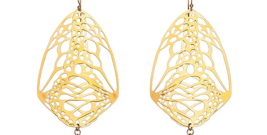 Cocoon earrings in gold plate