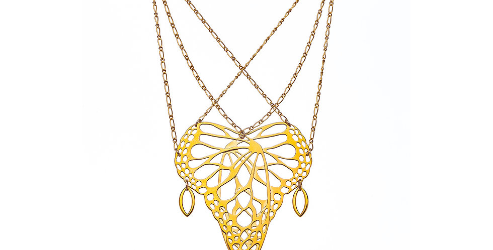 Flutter necklace in gold plate