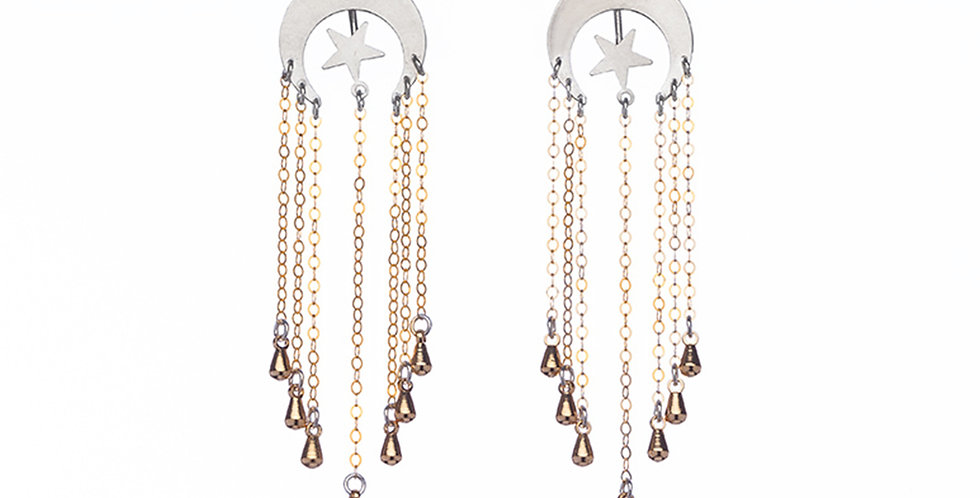 Floating Star earrings with earring jacket