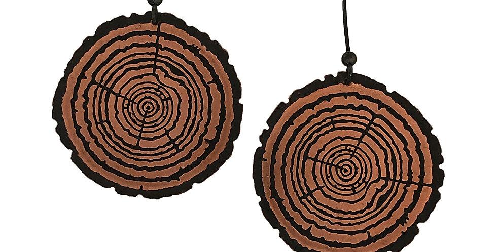 Redwood Slice drop earrings, large